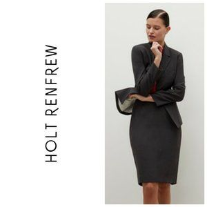 HOLT RENFREW 100% Wool Grey Pencil Skirt